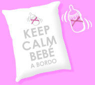 COJIN KEEP CALM BEBÉ A BORDO (PURPURINA) INEDIT FESTA