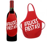 DELANTAL BOTELLA FELICES FIESTAS / INEDIT