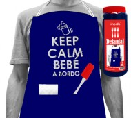 Delantal Ngr. y paleta KEEP CALM BEBÉ A BORDO (2 Bolsillos) INEDIT