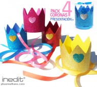 1 PACK 4 CORONAS PURPURINA CORAZON / INEDIT FESTA