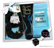 KIT EROTICO BODY PAINT CHOCOLATE DESAYUNO CON DIAMANTES (NEGRO) / inedit festa